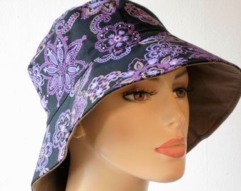 Bucket Hats Reversible Medium Brim for Sun Protection Chemo hat Back with Purple Floral