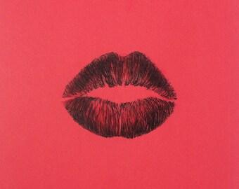 minimalist ink print: Kiss