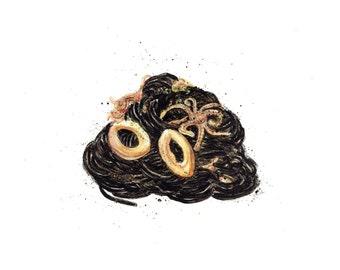 minimalist watercolor print: Squid Ink Pasta