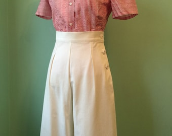 1930's 1940's vintage style off white  cotton twill pants sample sale w 27 28 h 36 37