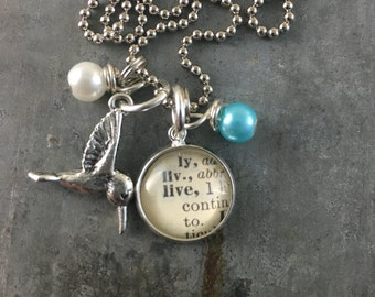 Mini Dictionary Word Necklace - LIVE