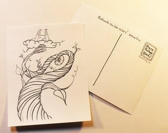 Jack and the Beanstalk 12 Coloring Postcards One Dozen Cards color mail Adult Coloring Page Mailart Mail Art Tursiart storybook fairy tale