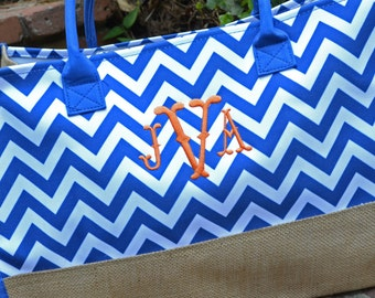 SALE - 15% OFF:  Monogrammed Chevron Tote - Blue, Orange or Red