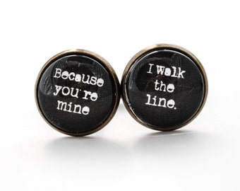 Johnny Cash Cuff Links - Because you're mine I walk the line - Quote Cuff Links - Groom Cuff Links