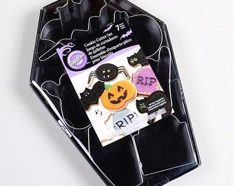 Halloween Cookie Cutter Set with Pumpkin Cookie Cutter, Bat Cookie Cutter, Cat Cookie Cutter,Coffin Cutter,Ghost Cutter,Spider Cookie Cutter