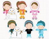 Winter Fun Digital CLIP ARTS personal and commercial use for invitations, cupcake toppers, birthday cards, party supplies