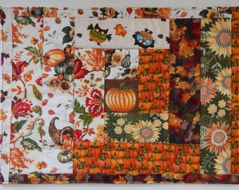 Quilted Holiday Placemats, Thanksgiving, Halloween, Pumpkins: set of 4