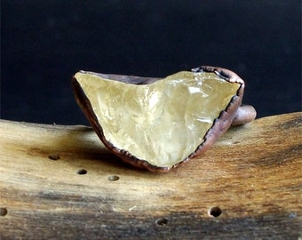 Rough Stone Jewelry Raw Citrine Ring Size 7.5 Birthstone November Citrine Jewelry Copper Gemstone Raw Crystal Ring boho
