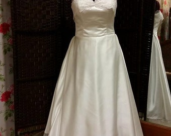 1950s satin strapless sweetheart wedding dress