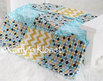 Baby Boy Quilt, Newborn Blanket Prop, Mustard & Turquoise Quilt, Newborn Rag Quilt,  Boy Photo Props, Newborn Boy Props, Layering Blanket
