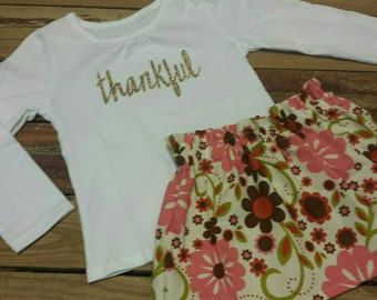 SALE Thanksgiving Outfit- Be Thankful - Baby Toddler Girls Skirt Set- Appliqued Shirt - Vintage Cream Floral High Waist Skirt- Turkey Day