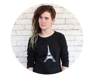 Eiffel Tower Ladies French Terry Sweatshirt, Long Sleeved Scoopneck Shirt, Black and White Paris Vacation, French Language, World Travel