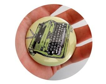 typewriter  Pin back Button in green or custom background, Pinback Badge, Flair, Customization Writing, Writer, Stocking Stuffer, Small gift