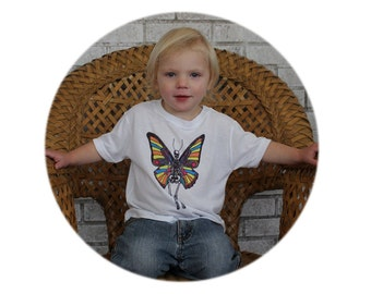 Butterfly Skeleton Tshirt, Youth, Polyester, Wicking, Sublmiated, Colorful, Day of the Dead, Dia de los Muertos, Flying Skeleton, Skull