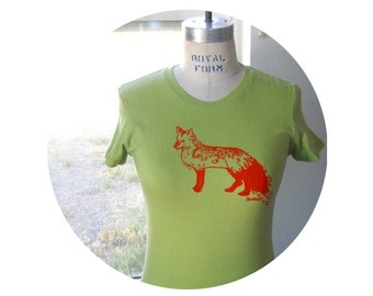 Women's T Shirt, Fancy fox tee hand dyed and printed in apple green or custom colors, Cotton Crewneck