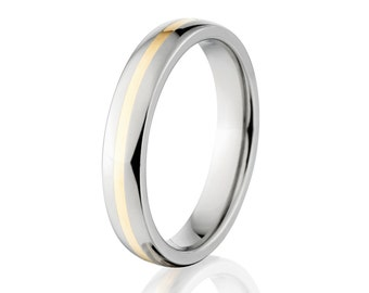 New 4mm Titanium Wedding Ring With 14k Yellow Gold Inlay, Free Sizing Jewelry 4-17: 4HR11GBR-14KINLAY