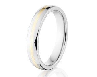 14k Inlay Half Round Style w/Polish Finish Cobalt Chrome Ring:Cobalt-4HR11G-P-14k-Gold