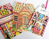 Gingerbread Houses - Variety Set - Christmas Tags - Set Of 3 - Santa's Candy  - Peppermint Cottage - Xmas Hello Tags - 1950's Christmas Tag