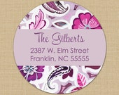 Purple Mod Floral Custom Address Labels or Stickers