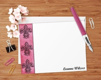 Shabby Fleur-De-Lis - Set of 8 CUSTOM Personalized Flat Note Cards/ Stationery