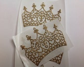 Beautiful golden Crown Stickers large 12 pc  Bridal shower  Princess Party
