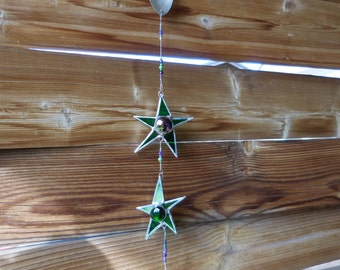 Stained Glass 2 Star Mobile with Glass Drop - Handmade - Suncatcher - Window Decor - Gift - Christmas - Birthday