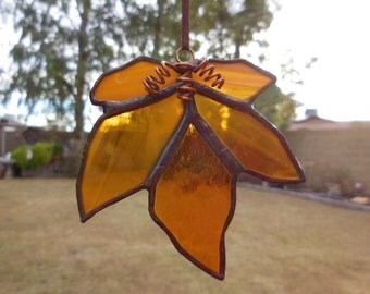 Stained Glass Maple Leaf - Handmade - Amber - House Warming - Mothers Day - Fathers Day - Birthday - Window Decor - Wedding Gift