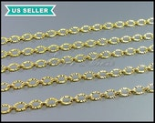 1 Meter textured oval link necklace chains, unique brass metal chain supplies, chains for necklaces, bracelets B103-BG