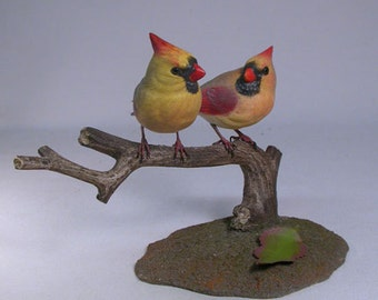 Mini Pair of Cardinal 2 female birds Hand Carved Wooden Bird