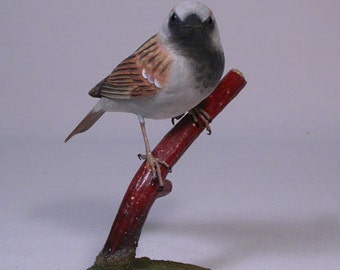 House Sparrow on branch Hand Carved Wooden Songbird