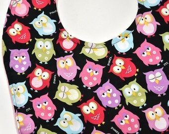 Reversible Youth Bib With Owls, Special Needs Girl or Boy Craft Cloths Protector, Junior Bib Easter Gift