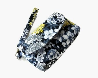 Gray Black Cushioned Wristlet - Phone Pouch - Small Fabric Handbag - Fabric Wristlet - Removable Strap - Floral Clutch