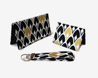 Black and Gold Checkbook Cover, Credit Card / Business Card Holder, Key Fob - 3 Piece Set - Purse Accessory Set - Mini Wallet