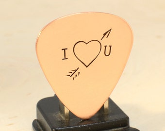 I love you copper guitar pick with Cupid's arrow of love straight through the heart - GP791