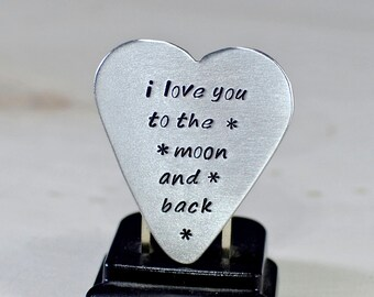 Love You To The Moon and Back Handmade Heartshaped Aluminum Guitar Pick - GP347