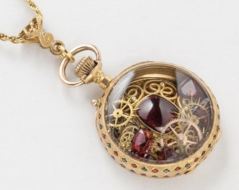 Antique Pocket Watch Case Necklace in Solid 18K Gold with Genuine Garnet, Vintage Gears, Green & Red Enamel Victorian Locket Pendant Jewelry