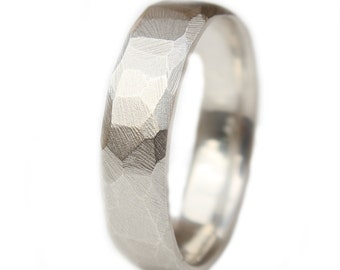 Faceted Wedding Ring Modern Argentium Silver recycled Wedding Band Custom made to fit
