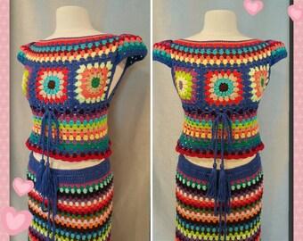 Womens Crochet Granny Square Hippie Gypsy Top