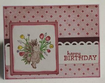 Hedgehog Birthday Card, Pink Polka Dots Birthday Greeting, Hedgehog with Flowers (BD1603)