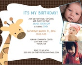Giraffe Party Invitation for Boy- DIY Customizable PDF File