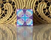 Polymer Clay Kaleidoscope Cane Turquoise, Purple, White No. 1057