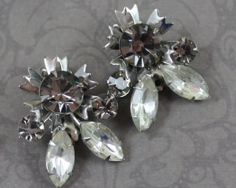 Vintage Black Diamond Gray and Clear Rhinestone Silver Star Clip On Earrings