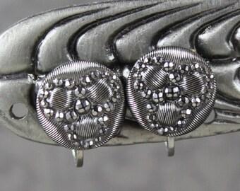 Victorian Cut Steel Style Round Button Screwback Earrings