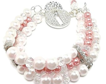 3 Strand Pearl Bracelet/Bridal Jewelry/Pink and Vintage Rose Pearls/Czech Glass Crystals/Sterling Silver Plated/Bracelet/Pink