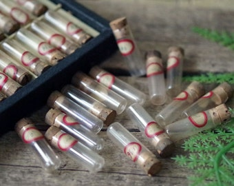 Glass Watchmaker Corked Vials Lot of 15 - Small Glass Vials- Vintage Watch parts vials - Supply Glass Containers