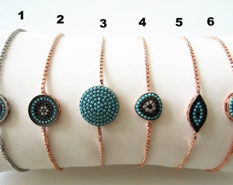 turquoise - Boho jewelry - Turkish evil eye bracelet - gift for bride - tennis bracelet - mother of the bride-mother of the groom-bridesmaid