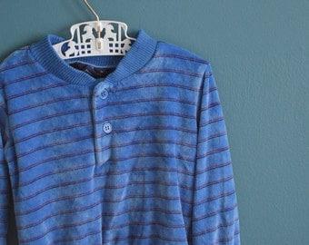 Vintage Boy's 1970s 1980s Teal Velour Shirt - Size 3T