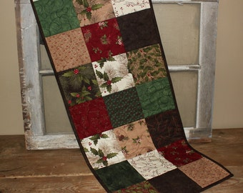 Christmas patch quilted table runner