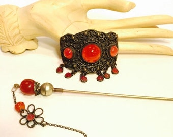 Valentines Lovers SALE Old Chinese Carnelian Glass Silver Vintage Antique Hair Piece