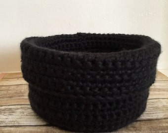 Crochet Basket, Crochet Bowl in Black, Catchall